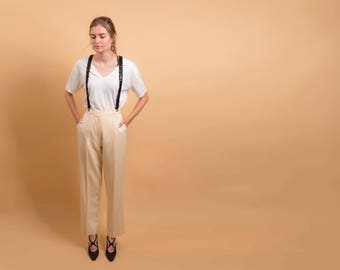 80s High-Waist Wool Pants / Tailored Wool Pants / Minimalist Trousers / Pale Yellow Pants Δ size: M