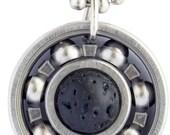 Black Lava Rock Roller Derby Skate Bearing Pendant Necklace