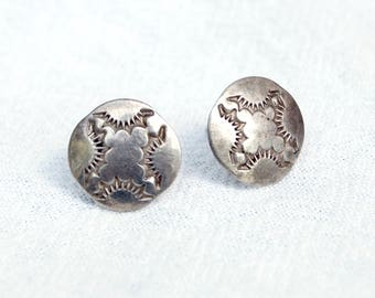 Southwestern Post Earrings Sterling Silver Concho Studs Vintage Stamped Disc Posts Everyday Earrings