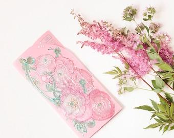 Money Gift Card Envelope - Pink ranunculus - emerald, mint, light green, original painting, rose, white - floral art - pastel colors - OOAK