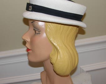 Vintage Ladies Sailor Style Cap Navy and White Crisp Summer Colors Mid Century Cutie Pie!