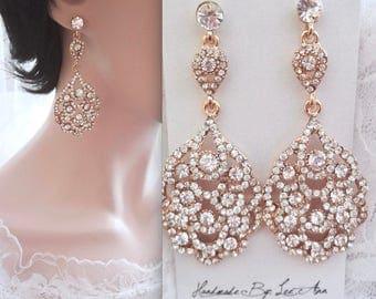 Gold chandelier earrings, Gold crystal wedding earrings, Brides earrings, Peacock earrings ~ gold crystal earrings, NINA