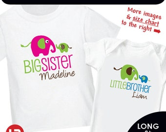 Elephant Big Sister Shirt & Elephant Little Brother Bodysuit or Shirt - Personalized Sibling Shirt - Monogram Baby Shower Gift