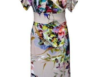 Floral Wrap Dress, Plus Size Dress, Kimono Dress, Summer Dress, Cotton Dress, Printed Dress, Jersey Dress, Summer Dress, Short Sleeves Dress