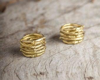 organic stackable golden ring, sea salt trace ring, organic big golden ring, multi band ring, gift for her, natural golden ring, boho ring