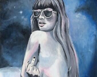 I Do What I Want - Oil Painting - Original Painting - Feminist Art - Original Art - Oil Portrait - Painted - Flipped Bird - Mature - Nude
