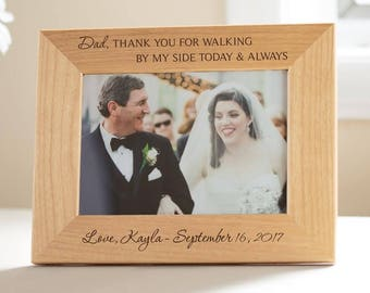 Personalized Father of the Bride Picture Frame: Custom Engraved Father of the Bride Gift, Wedding Parents Thank You Gift, SHIPS FAST