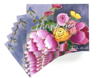 Floral thank you boxed card set stationery set of 6