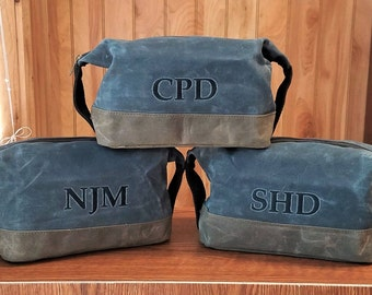 Set of 6 Waxed Canvas Toiletry Bag Dopp Kit Groomsmen Gifts Mens Travel Bag