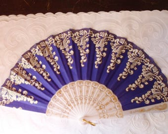 Royal Blue Folding Hand Fan with White Cascades and Glitter