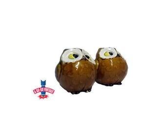 Vintage Owl Salt n Pepper Shaker Set, Mid Century Owl Shakers, Anthropomorphic Ceramic Japan
