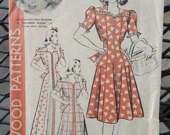 Hollywood Patterns 622, Sewing Pattern, 40s dress, Olivia De Havilland
