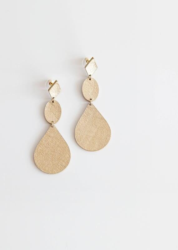 Minimal geometric tear drop gold leather earrings- large statement gold earrings- long tear drop earrings