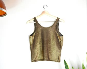 80s iridescent gold crop top // sparkly disco tank