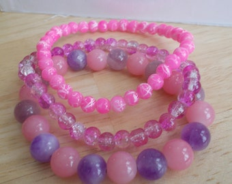 3 Stretch Bangle Bracelets with Pink and Purple Glass Beads