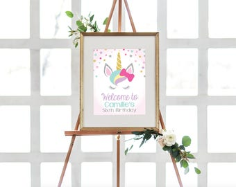 "INSTANT DOWNLOAD - Unicorn Welcome Sign Printable, Unicorn Editable Welcome Sign - Birthday Sign, Welcome Sign, 8x10"" OLDP300"