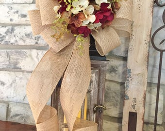 Fall~Hydrangea Lantern Swag~Chocolate Cordial~Wired Edge Burlap Ribbon, Swag, Wreath, Decor,Holiday or Every Day~Timeless Floral Creations