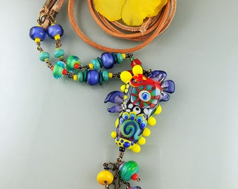 Calypso - Boho-Chic Necklace - Spirit Bird lampwork Focal bead by Michou Pascale Anderson (SonicYoko )