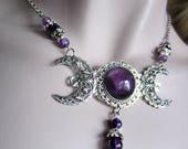 Amethyst Triple Moon Goddess Necklace, Silver Filigree Crescents