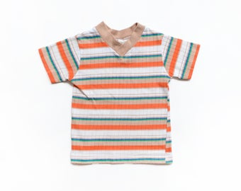 Vintage 70's TODDLERS Rainbow Striped V-Neck T-Shirt Sz 2T