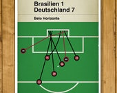 Brasilien 1 Deutschland 7 - Germany 7 Brazil 1 - All Goals - World Cup 2014 - Classic Book Cover - Football Poster (Various sizes)