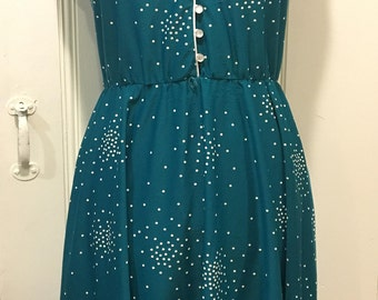 Pretty 1970s teal day dress, larger size, 14