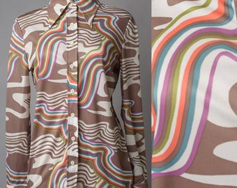 Vintage 70s top, 70s Hippe Top, Vintage Brown Top, 70s Psychedelic shirt, Abstract shirt, Funky shirt, multicolor top - S/M