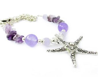 Starfish Necklace, Purple Necklace, Starfish Jewelry, Sea Life Necklace, Beach Necklace, Beach Jewelry, Beach Gift, Beach Lover Gift