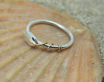 Silver leaf ring with brass detail,silver leaf ring, sweetheart ring, birthday ring, silver ring, brass leaf ring, girls ring