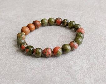 Unakite Yoga Bracelet - Earthy Bracelet - Gemstone Bracelet - Wrist Mala - Energy Jewelry - Item # 307