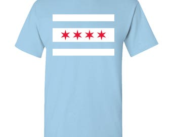 Chicago City Flag T Shirt - Light Blue