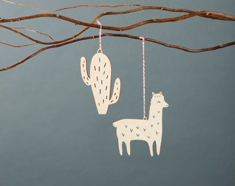 Llama Cactus Wooden Holiday Christmas Ornaments- Lasercut Birch (set of 2)