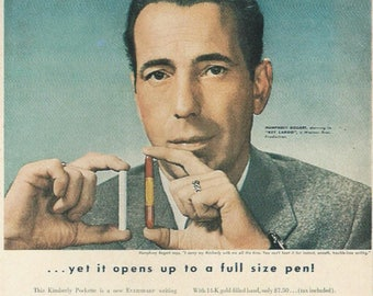 Humphrey Bogart  (Advertising a Kimberly Pockette Pen) 4x6 Postcard