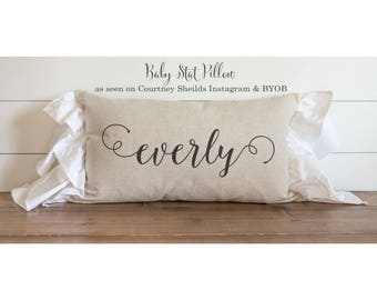 Baby Stat 16 x 26 Pillow Cover_ seen on Courtney Sheilds Instagram BYOB  // Birth Announcement // Newborn // Photo Prop // Gift