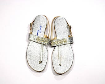 Vintage SILVER Thong Sandals Size 7