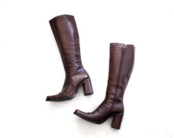 brown leather boots - tall boots - 90s platform boots - campus boots - knee high riding boots - US 8 8.5 EU 39 UK 6