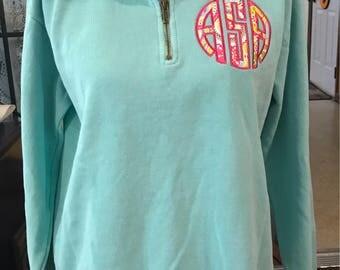 Monogrammed 1/4 Zip Comfort Colors Sweatshirt
