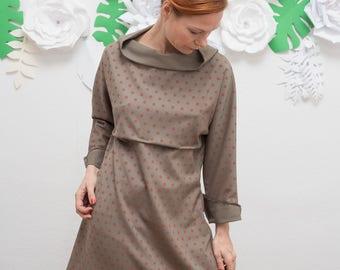Kimono Dress, Spring Dress, Oversized Dress, Knee-Length Dress, Cotton Dress, Minimalist, Polka Dot Dress, Khaki Green Dress, Minimal dress