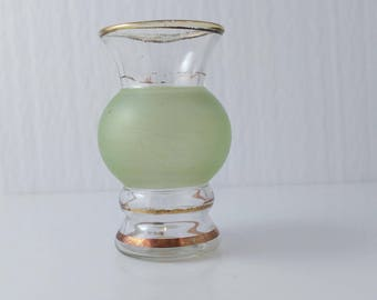 Small Vase Frosted Pistachio Green Glass Vase Gold Striped Vintage Bartlett Collins? - 4 Inches High