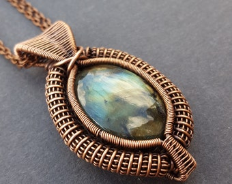 Labradorite Necklace Wire Wrap, Wire Wrapped Jewelry, Oxidized Copper Jewelry, Wire Wrapped Necklace, Antique Copper, Wired Gemstone Pendant
