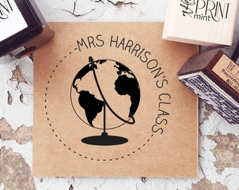 Teacher Stamp - Teacher Book Tag Custom Book Self-inking Stamp, School Rubber Stamp- From The Classroom Of Stamp- Globe Teacher Stamp- 10314