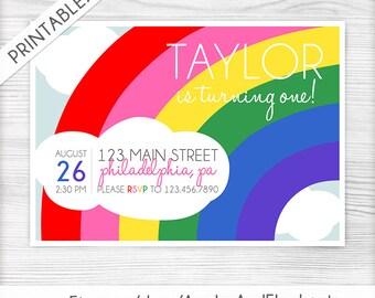 Rainbow Birthday Invitation - Vibrant Rainbow - Rainbow Birthday Party Invite - Printable