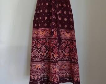 70's Wrap Skirt Ethnic India Cotton Gauzy Hippie Skirt