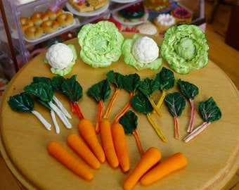Miniature Various Vegetables 1:6 scale Dolls Dollhouse Food Cauliflower, Lettuce, Carrots, Broccoli, Tomato, handmade by Nadia Michaux