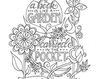 Book Garden Coloring Page Planner Bullet Journal Insert Instant Download Printable PDF Reading