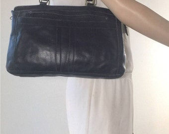 Black Leather Purse, 1970s, Bag, Tote, Shoulder Bag