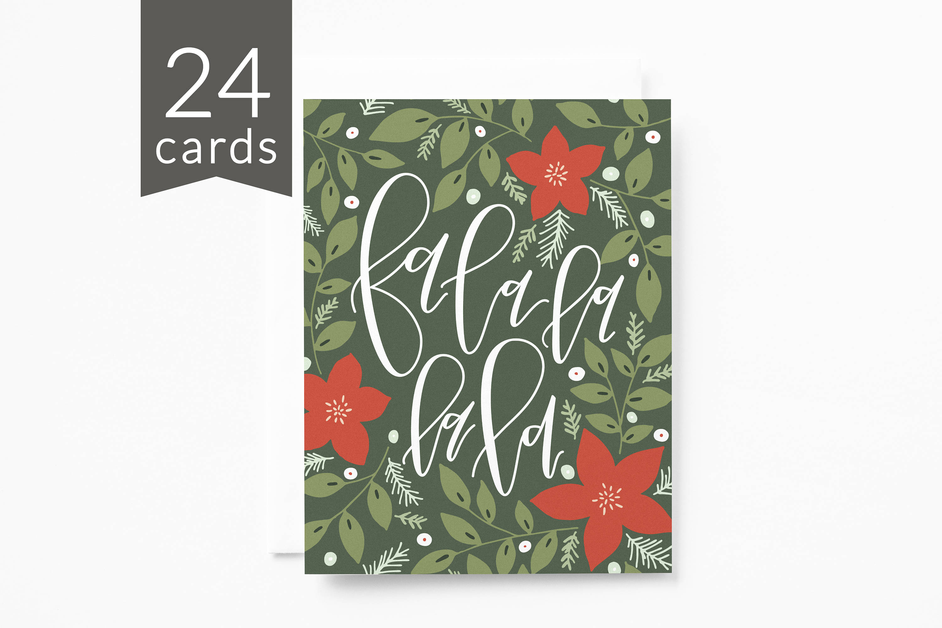 christmas card set of 24 hand lettered illustrated floral holiday