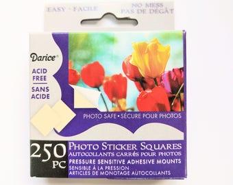 Photo Squares, Self Adhesive Photo Mounts, Acid Free, Box of 250