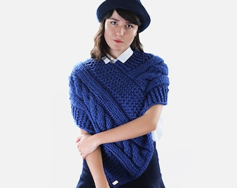 Knit Women's Poncho - Fall Poncho - Woman's Knit Cape in Royal Blue -  Chunky Knit Poncho  | The Janus Cape |