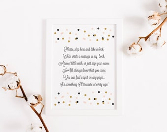 INSTANT DOWNLOAD Birthday Guest Book Sign - Black, Blush and Gold Modern Confetti Dots  - Birthday Welcome Sign - 8x10 - Confetti Dots